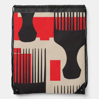Red Black Hair Comb Afro Pick Drawstring Bag