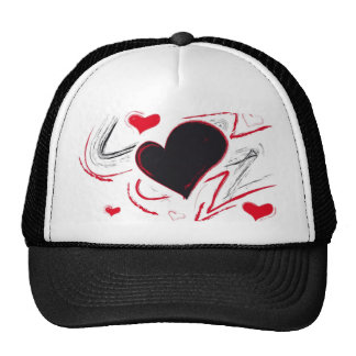 Red-Black heart abstract Hats