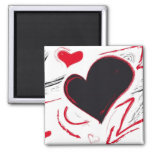 Red-Black heart abstract Square Magnet