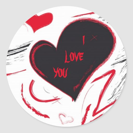 Red-Black heart abstract Round Stickers