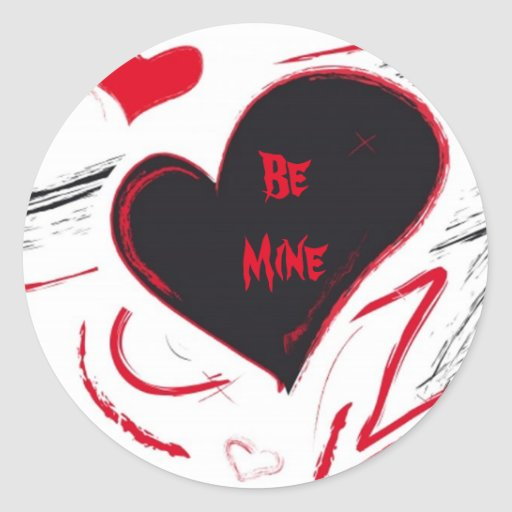 Red-Black heart abstract Stickers