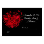 Red & Black Heart Roses Butterfly Table Place Card Pack Of Chubby Business Cards