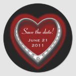 Red & Black Heart Save the Date Sticker Sheet
