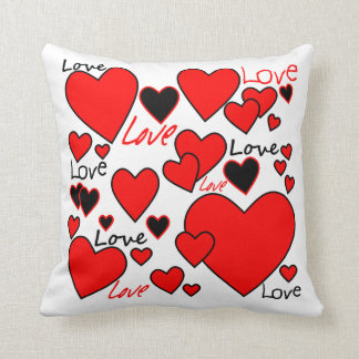 Red & black hearts cushion