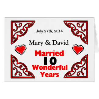 Red Black Hearts Names & Date 10 Yr Anniversary Card