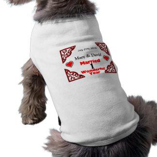 Red Black Hearts Names & Date 1 Yr Anniversary Sleeveless Dog Shirt