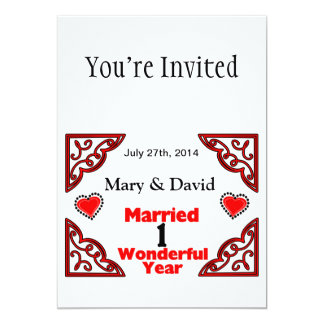 Red Black Hearts Names & Date 1 Yr Anniversary 5x7 Paper Invitation Card