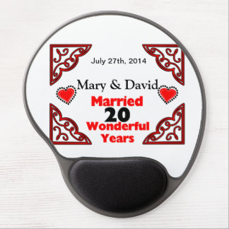 Red Black Hearts Names & Date 20 Yr Anniversary Gel Mouse Pads