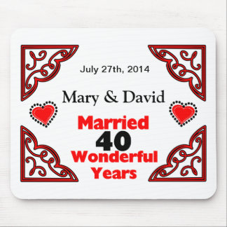 Red Black Hearts Names Date 40 Yr Anniversary Mouse Pad