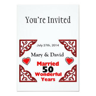 Red Black Hearts Names & Date 50 Yr Anniversary Custom Invite