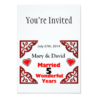 Red Black Hearts Names & Date 5 Yr Anniversary 5x7 Paper Invitation Card