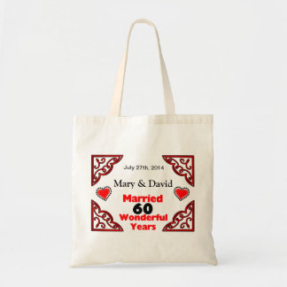 Red Black Hearts Names & Date 60 Yr Anniversary