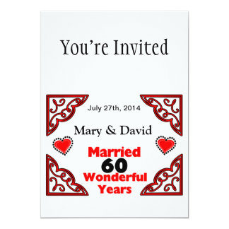 Red Black Hearts Names & Date 60 Yr Anniversary 5x7 Paper Invitation Card