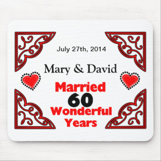 Red Black Hearts Names & Date 60 Yr Anniversary Mouse Mat