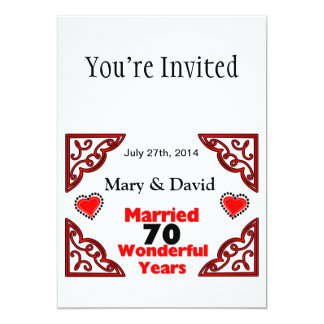Red Black Hearts Names & Date 70 Yr Anniversary 5x7 Paper Invitation Card