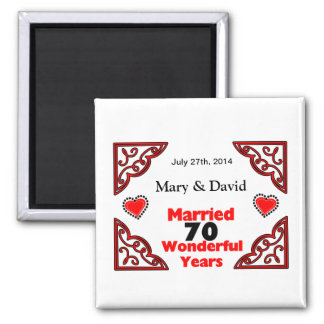 Red Black Hearts Names & Date 70 Yr Anniversary Magnet