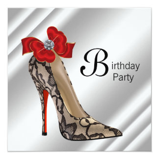 Red Black High Heel Shoe Birthday Party Card