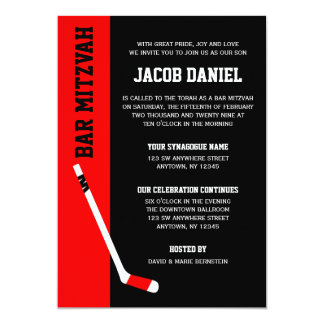 Red Black Hockey Bar Mitzvah Invitations