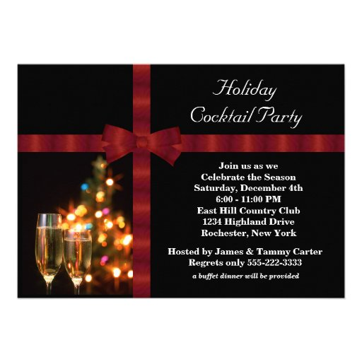 Red & Black Holiday Cocktail Party Invitations