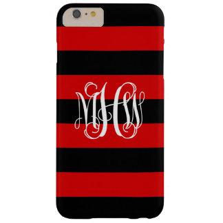 Red Black Horiz Stripe #3 Vine Script Monogram Barely There iPhone 6 Plus Case