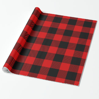 Red Black Huge Buffalo Plaid Lumberjack Tartan Wrapping Paper