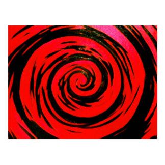 Red & Black Hypnotic Swirl Art Postcard