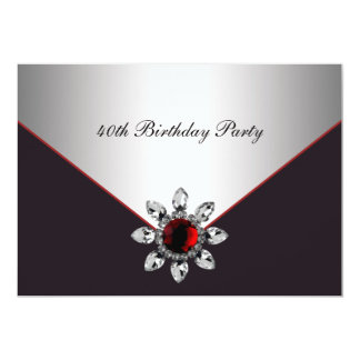 Red Black Jewel Womans 40th Birthday Party Card