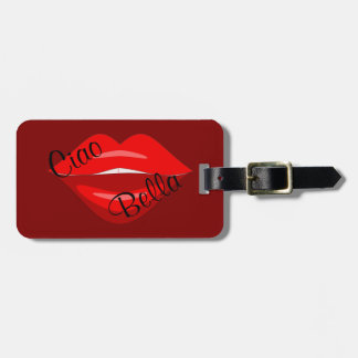 Red black kiss lips luggage tag