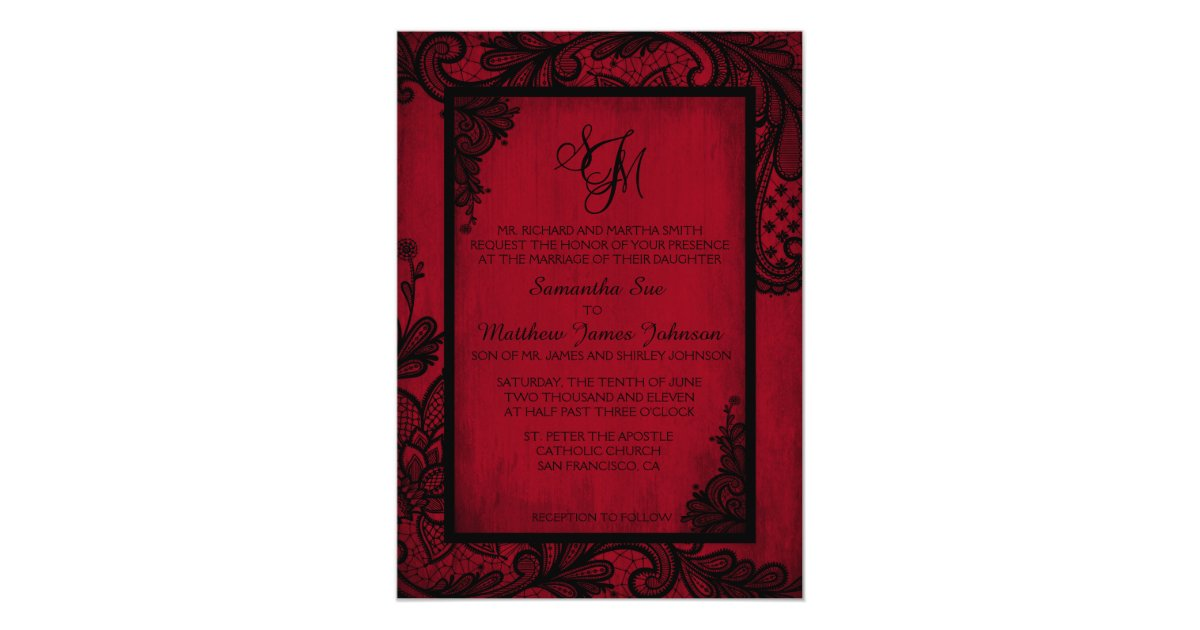 Red black lace gothic wedding invitation card zazzle stopboris Image collections