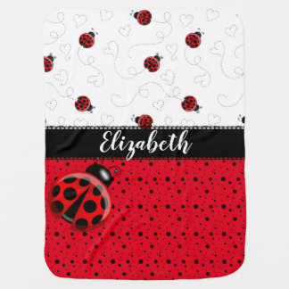 Red Black Ladybug Bug Insect Ladybird Beetles Name Baby Blanket