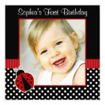 Red Black Ladybug Polka Dot 1st Birthday Photo 13 Cm X 13 Cm Square Invitation Card