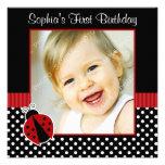 Red Black Ladybug Polka Dot 1st Birthday Photo Invites