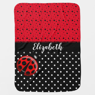 Red Black Ladybug Polka Dot Bug Beetles Name Baby Blanket