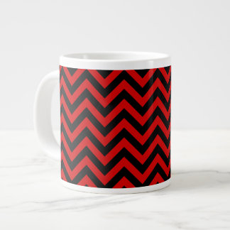 Red, Black Large Chevron ZigZag Pattern Giant Coffee Mug