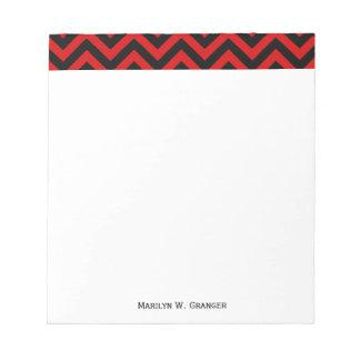 Red, Black Large Chevron ZigZag Pattern Notepad