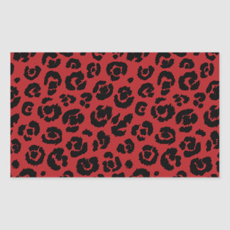 Red Black Leopard Print Rectangular Sticker