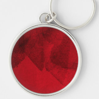 Red black love abstract modern painting design art Silver-Colored round key ring