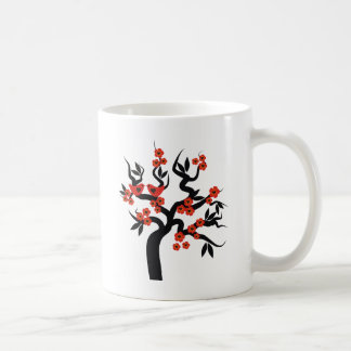 Red black Love birds sakura cherry tree & Blossoms Coffee Mug