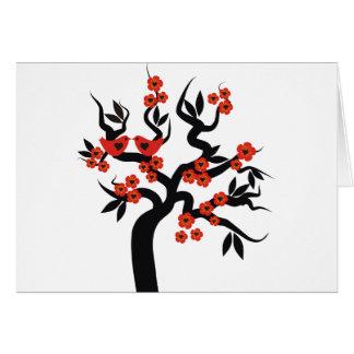 Red black Love birds sakura cherry tree & Blossoms Greeting Card