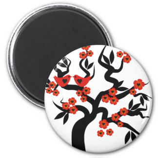 Red black Love birds sakura cherry tree & Blossoms Magnet