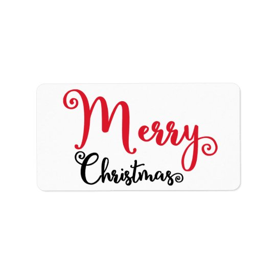 Red Black Merry Christmas Stickers