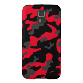 Red black military camouflage textures case for galaxy s5