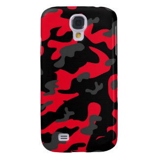 Red black military camouflage textures galaxy s4 case