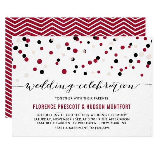 Red & Black Modern Confetti Dots Wedding Card