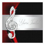 Red Black Music Treble Clef Recital Invitations 13cm X 13cm Square Invitation Card