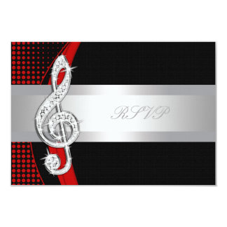 Red Black Music Treble Clef RSVP 9 Cm X 13 Cm Invitation Card