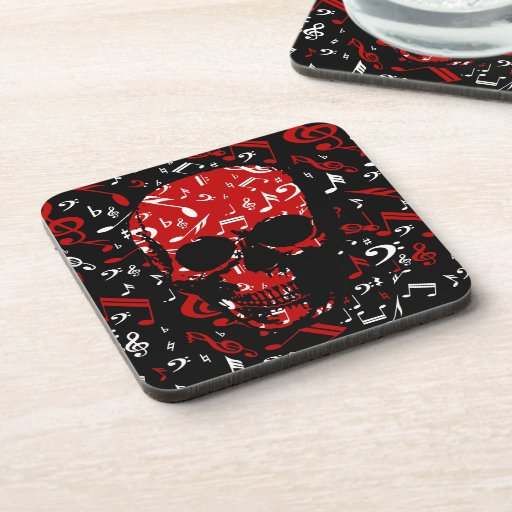 Red Black Musical notes skull Drink Coaster