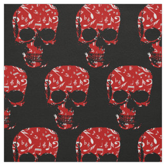 Red Black Musical notes skull Fabric