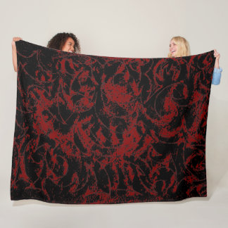 Red Black Ornamental Pattern Fleece Blanket