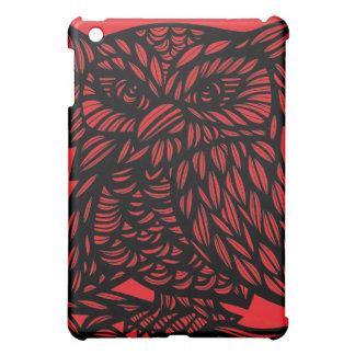 Red Black Owl Artwork Drawing iPad Mini Covers